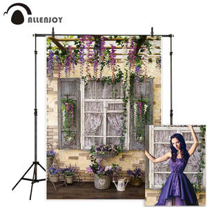 Allenjoy Backdrop Flowers Decorated Wood Photographic Studio Window for Spring Patio