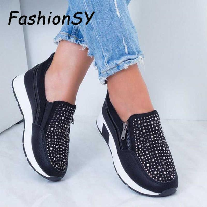 ผู้หญิงคริสตัลรองเท้าผ้าใบฤดูใบไม้ผลิฤดูใบไม้ร่วง Casual Zipper แบนรองเท้าผู้หญิง Non-SLIP Breathable Outdoor Vulcanized รองเท้าผู้หญิง