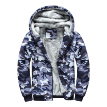 Winter Thick Warm Camouflage Hooded Coat Camo Casual Hoodie Jackets Plus Velvet Sweatshirt Size