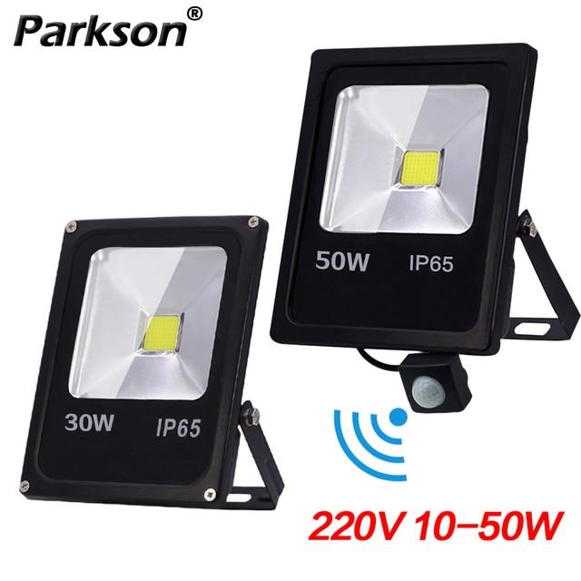 LED น้ำท่วมกันน้ำ IP65 10W 30W 50W Motion Sensor Reflector Floodlight โคมไฟ AC 220V foco LED ภายนอกกลางแจ้ง Spot LIGHT-ใน ฟลัดไลท์ จาก ไฟและระบบไฟ บน