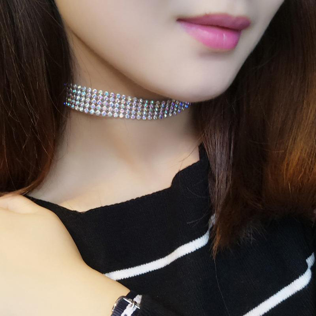 NEW Crystal Rhinestone Choker Necklace Women Wedding Accessories Silver Color Chain Punk Gothic Chokers Jewelry Collier Femme 2