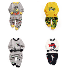 2019 Autumn Kids Casual Pajamas Sets Boys Cartoon Printing Sleepwear Children Digger Long Sleeve Pyjamas Suit
