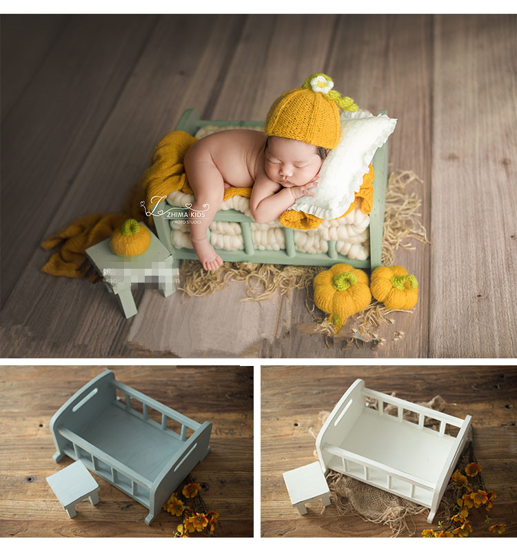 Neonatal Photography Props Small Wooden Bed Photo Studio Baby Full Moon Photo Props Barrel Baby Photo Props