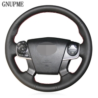 DIY Handsewing Black Artificial Leather Car Steering Wheel Cover for Toyota Camry 2012 2013 2014|Steering Covers|   -