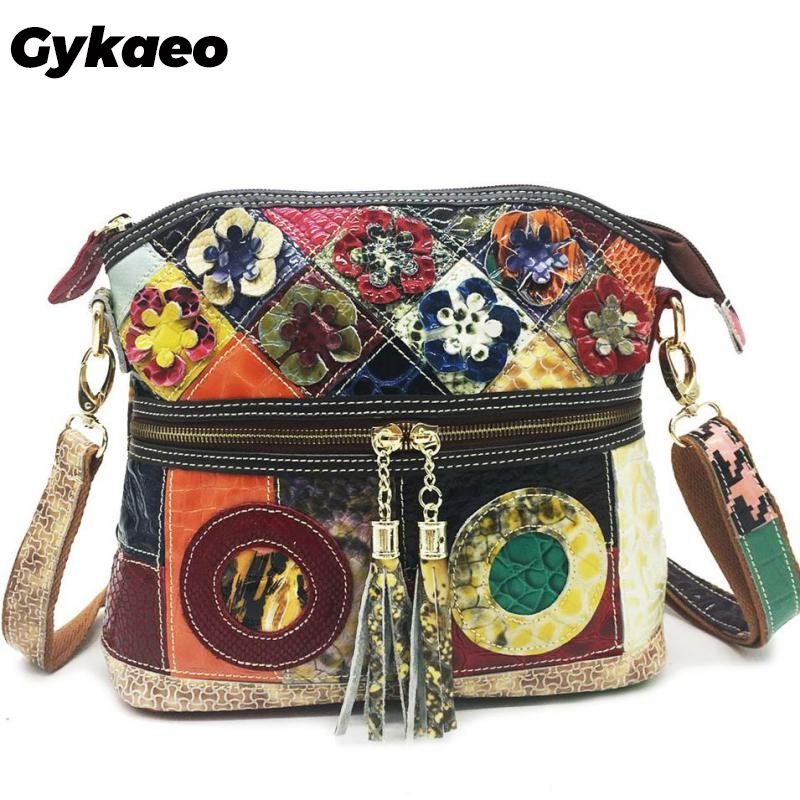 Cow Leather Splicing Retro Women Shoulder Bags 2020 New Leisure Multicolor Flower Crossbody Bags Female Messenger Bag Sac A Main