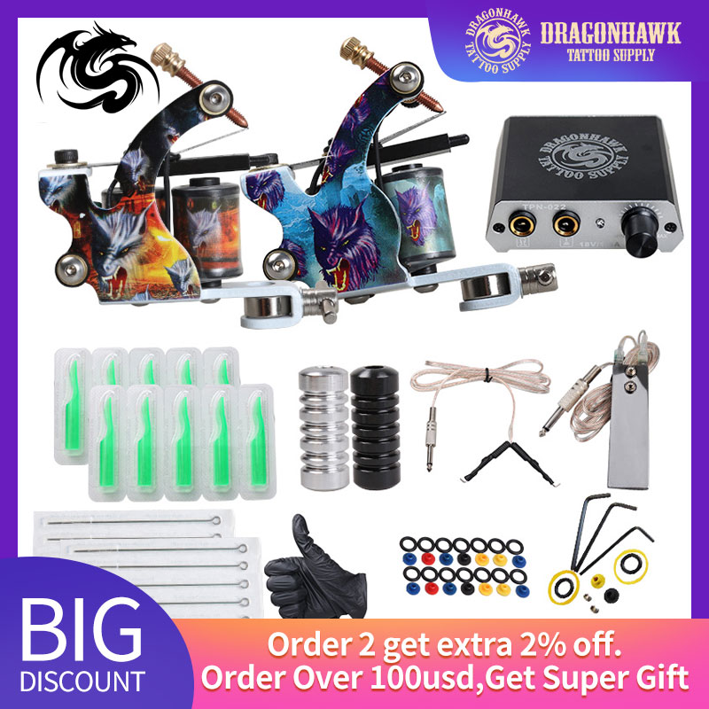 Beginner Tattoo Kit Mini Tattoo Power Supply Tattoo Machine Set Grips Needles Tips Supplies
