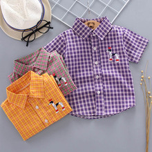 Plaid Fashion Toddler Kids Boy Girl Summer Short Sleeve Purple Cartoon Print Check Button shirt Tee Tops Clothes 1-5 Y цена 2017