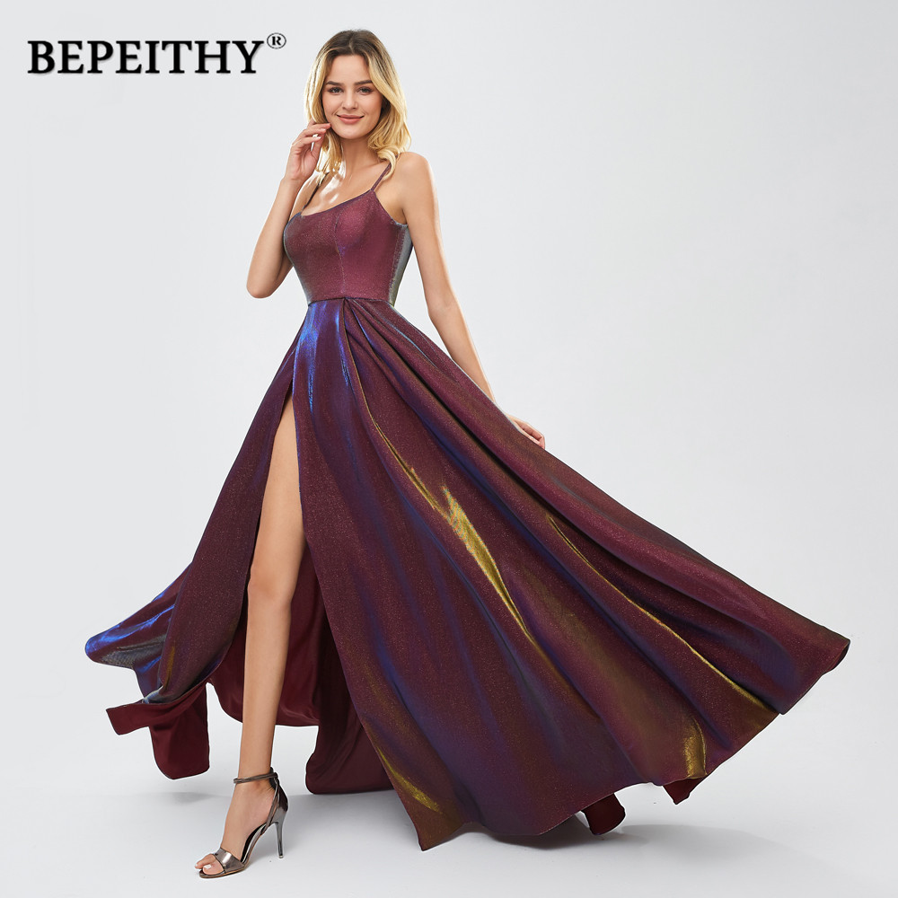 BEPEITHY Glitter Long Evening Dresses High Slit Robe De Soiree Sexy Plus Size Party Prom Dress платье вечернее 2020