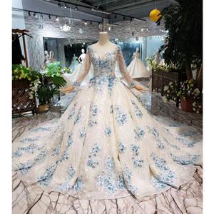 Ball-Gown Wedding-Dress Train Flowers Muslim Back-Bridal Blue O-Neck Lace-Up with Vestido-De-Festa