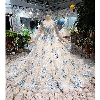 BGW HT42118 Muslim Ball Gown Wedding Dress Blue Flowers O-neck Lace Up Back Bridal Gown With Train Vestido De Festa Longo 2020