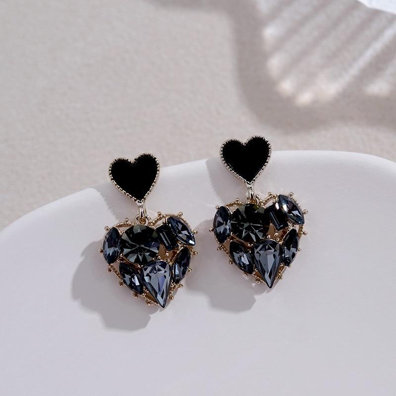 2020 New Arrival Trendy Grey Crystal Love Heart Dangle Earrings For Women Sweet Fashion Jewelry Fashion Oorbellen
