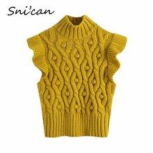 Snican зимний свитер жилет в горошек Женский однотонный винтажный
