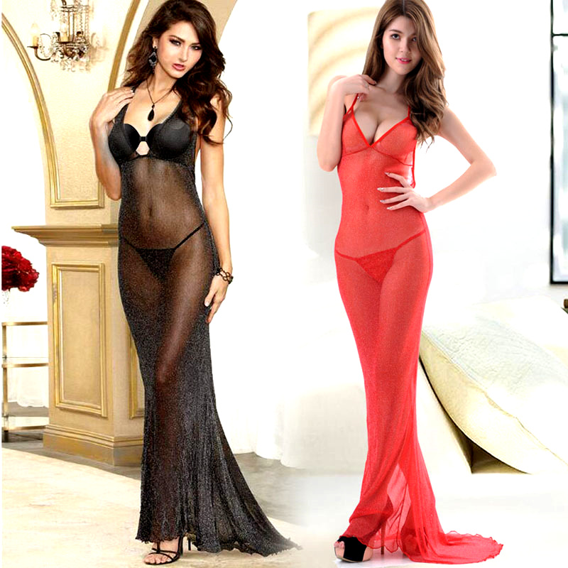 Fantasy Sexy Long Tails Dress Lingerie Halter Robe Baby Dolls Chemises Pajama Erotic Underwear For Women Appeal Stripper Gowns