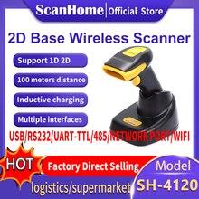Scanhome scanner de código de barras sem fio 2d qr pdf417 cmos 433mhz handheld barcorde scanner sh 4120