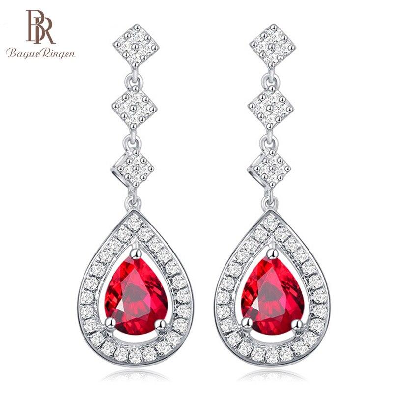 Bague Ringen Water Drop Ruby Earrings For Women Fashionable Drop Earrings Temperament Female Silver 925 Fine Jewelry Party Gift