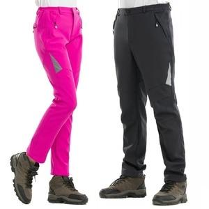 Image 2 - Noflen חורף גברים טיולים מכנסיים חיצוני טרקים Softshell נשים מכנסיים עמיד למים Windproof תרמית קמפינג סקי טיפוס