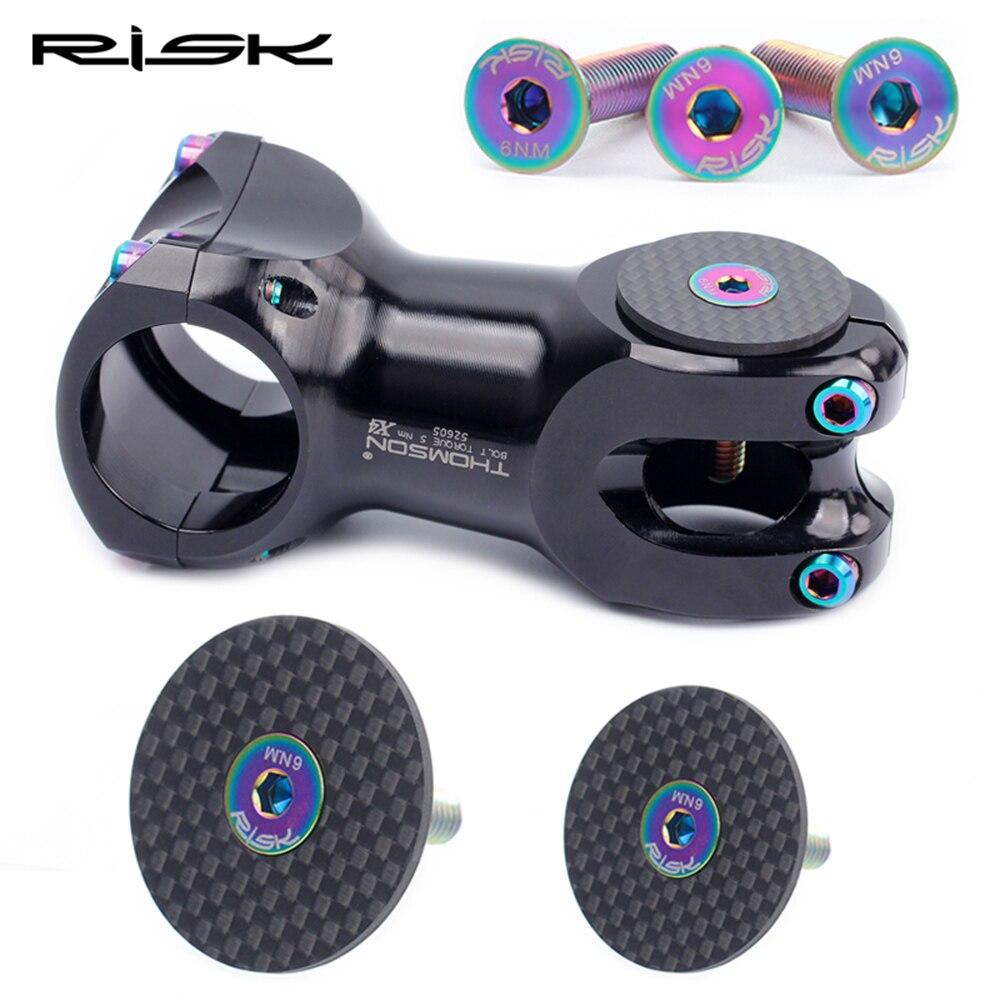 RISK Carbon Bike Stem Cap + Titanium Bolts OD2 Bicycle Headset Stem Top Caps For 28.6mm 31.8mm Road Bike MTB Cycling Accessories
