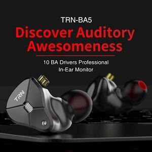 Image 3 - Date TRN BA5 10BA écouteur 5 Armature équilibrée HIFI moniteur Sport métal casque détachable câble TRN V90 V80 ZSX C12 AS10 ZS10