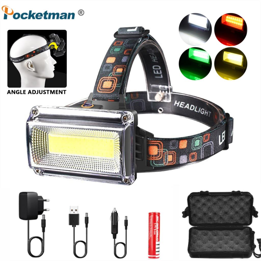 20000LM Powerful COB LED Headlight Rechargeable Headlamp Torch Flashlight 18650 Battery Waterproof Hunting Fishing Light Outdoor