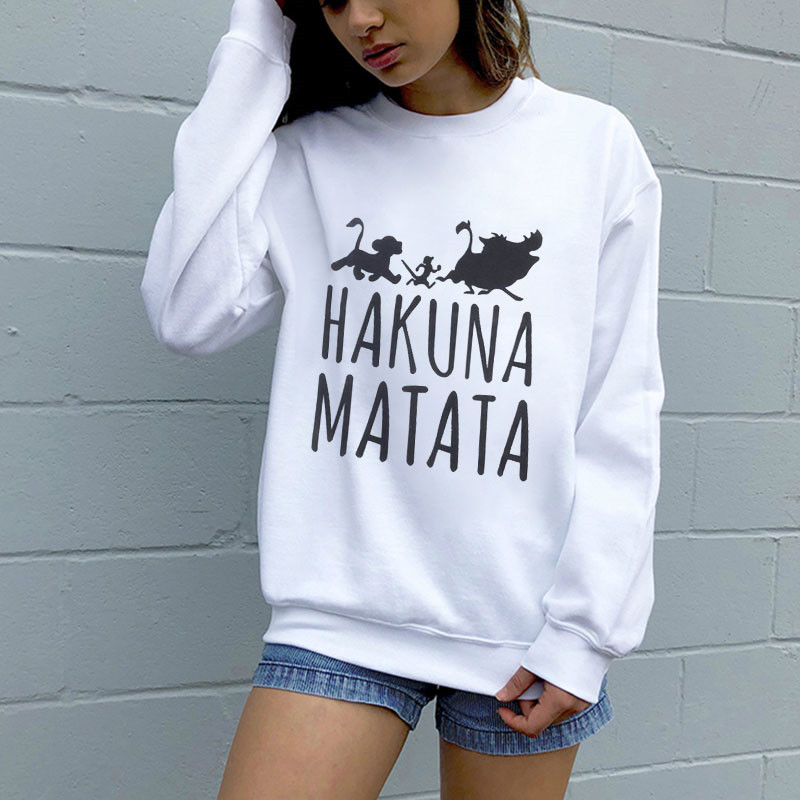 The Lion King Hakuna Matata Pullover Streetwear Sweatshirt Ulzzang Kawaii Fashion Women Hoodies