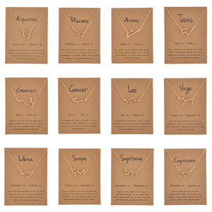 Elegant Star Zodiac Sign 12 Constellation Necklace Pendant Charm Gold Silver Color Chain Choker Necklace Women Jewelry Cardboard