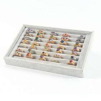2021 kreatywne modne pierścionki oferta specjalna tacka do prezentowania pierścionków i biżuterii Velvet około 50 Slot Case Box pudełko do przechowywania biżuterii tanie i dobre opinie CN (pochodzenie) Ze stopu aluminium Kobiety Metal TRENDY Nieregularne Zgodna ze wszystkimi Ślub