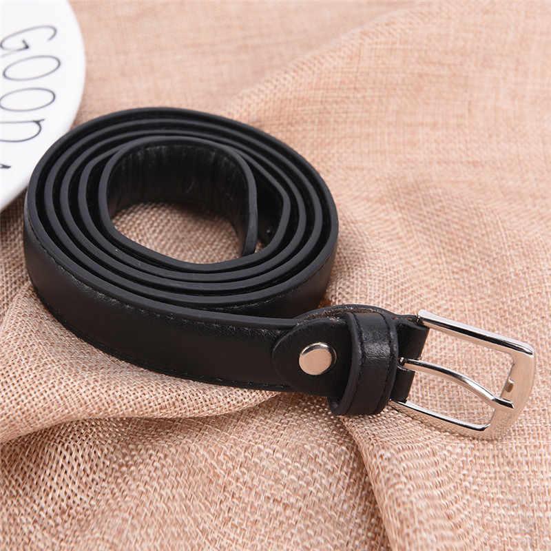 1 PC 110 CM แฟชั่นผู้หญิง Casual หนังเข็มขัดหนังเข็มขัด PIN BUCKLE สีดำ
