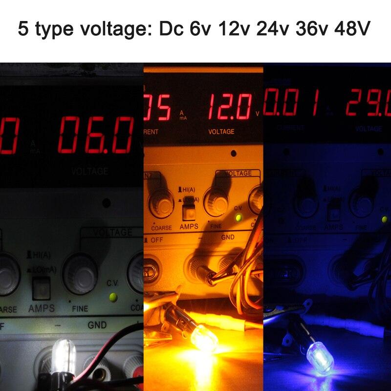 Купить с кэшбэком bombillas led bulb E10 1W Dc 6V 12v 24v 36v 48v Indicator lights Warning Light Signal energy saving lamp super bright 3030 chip