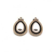 Free Shipping Black White Enamel Teardrop Pearl Earrings Elegant Alloy Modern Party elegant faux pearl crystal teardrop necklace and earrings