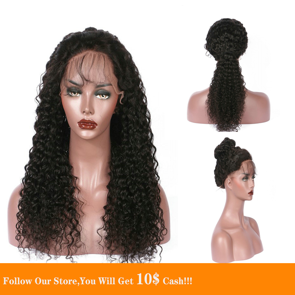 13x6  Lace Front Human Hair Wigs Long Black Loose Curly Hair Wig Soft Ponytail Pre Plucked With Baby Hair Natural Looking