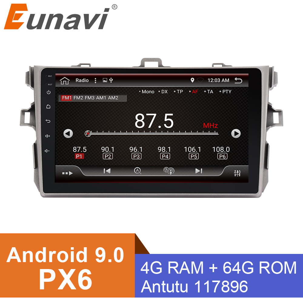 Eunavi Android 9.0 4g + 32g Octa 8 Core Auto Dvd Für Toyota Corolla E140/150 2007- 2011 Multimedia Auto Radio Gps Navi Px6 Radio