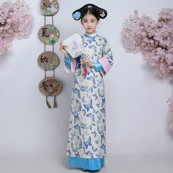 Ancient Qing Dynasty Outfit Hanfu Dress Children Chinese Traditional Princess Costume Kids Long Cheongsam Folk Dance Costume 2020 women chinese princess costume hanfu traditional dance costumes girls enfants folk ancient hanfu tang dynasty dress