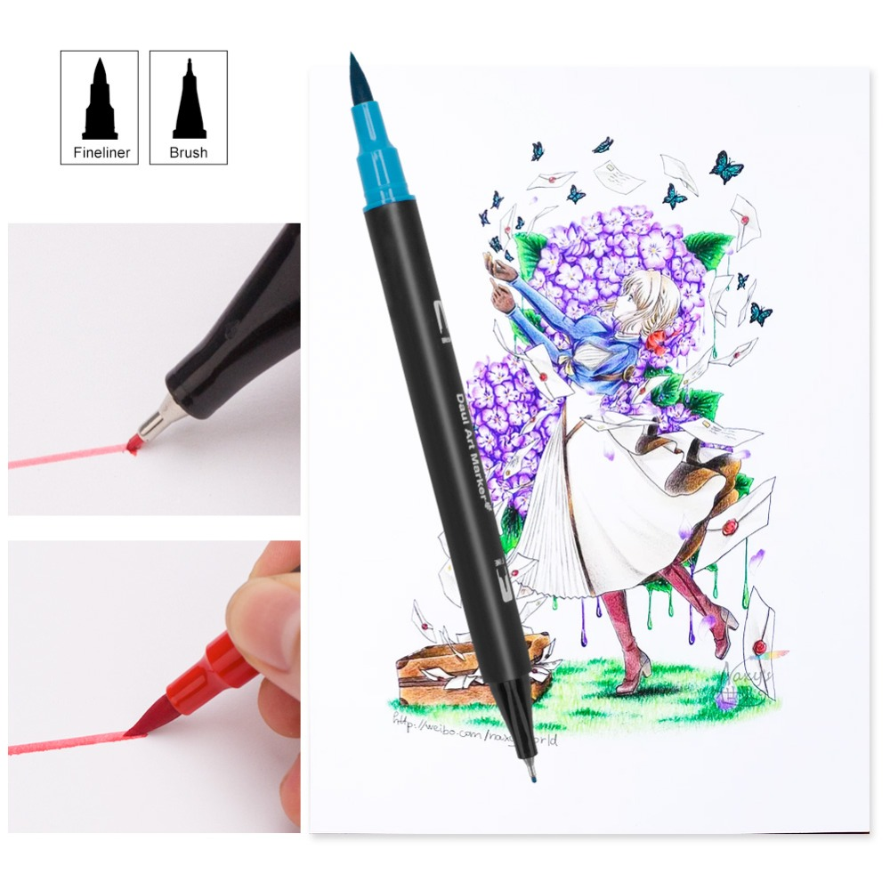 Felt-tip Pens Dual Tips 48/60/72/100 Art Marker Water Based Ink Soft Fine Brush Pen for Kids Adults Drawing Colors for Children