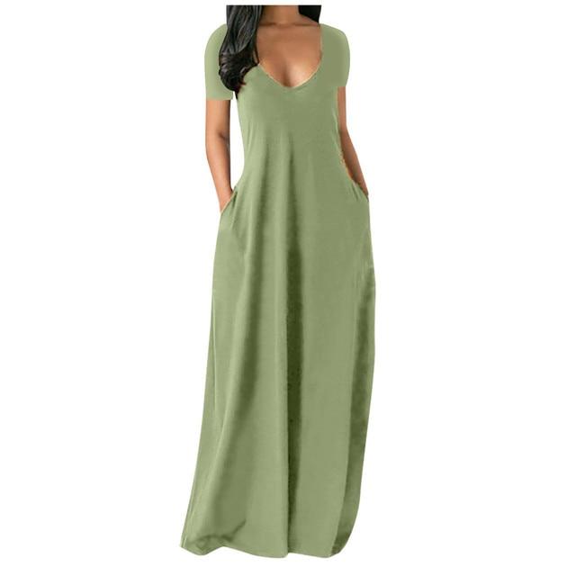 Fashion Summer Maxi Dress Women's Printed Sundress Casual Short Sleeve Vestidos Female High Waist Robe Femme Plus Size 5XL 4