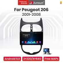 Junsun V1 Pro 4G + 64G Android 9,0 4G Auto Radio Multimedia Player Für Peugeot 206 2001-2008 GPS Navigation kein 2din dvd autoradio