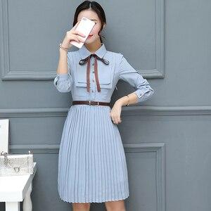 Image 3 - 2020 Thu Đông Vintage Chiffon ĐầM Midi Bodycon Hàn Quốc Áo Sơ Mi Công Sở Áo Nữ Dự Tiệc Tay Dài Đầm Vestido