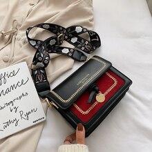 Kontrast renk deri kadınlar için Crossbody çanta 2020 seyahat el çantası moda basit omuz askılı çanta bayanlar çapraz vücut çanta
