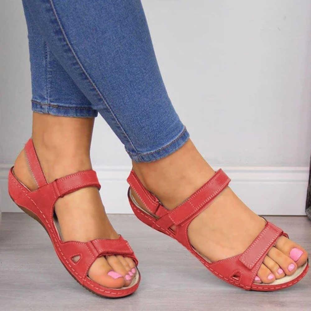 Cuoio Dell'unità di Elaborazione di Scarpe per Le Donne Sandali Casual Pattini di Estate Flop Sandali Della Piattaforma 2020 di Modo Delle Signore Roma Solido Peep Toe Sandali