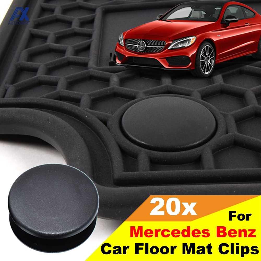 X AUTOHAUX 4 Sets Car Floor Mat Fixation Clips Anti-Slip Buckle Fastener Holder Black for Mercedes GLK SLK ML RS 350 600