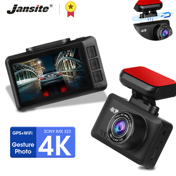 Jansite 4K MINI Car DVR 2.45 Screen Ultra HD Dashcam 3840*2160P Gesture Photo WIFI GPS Track Playback Registrars 1080P Rear cam image