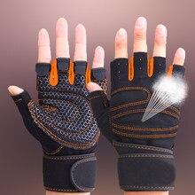 Luvas de meio dedo para academia, levantamento de peso, masculino e feminino, para treino, musculação, fitness, protetor de mão