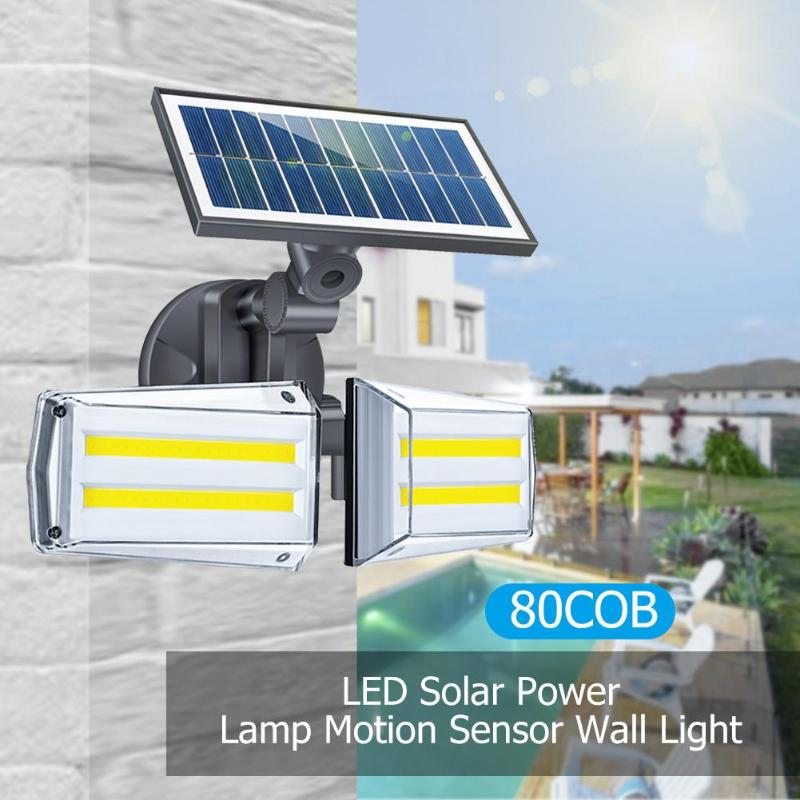 46/80 LED COB Solar Wall Light Home Waterproof Double Head Solar Street Light Human Body Induction Double Head Can Be Rotated