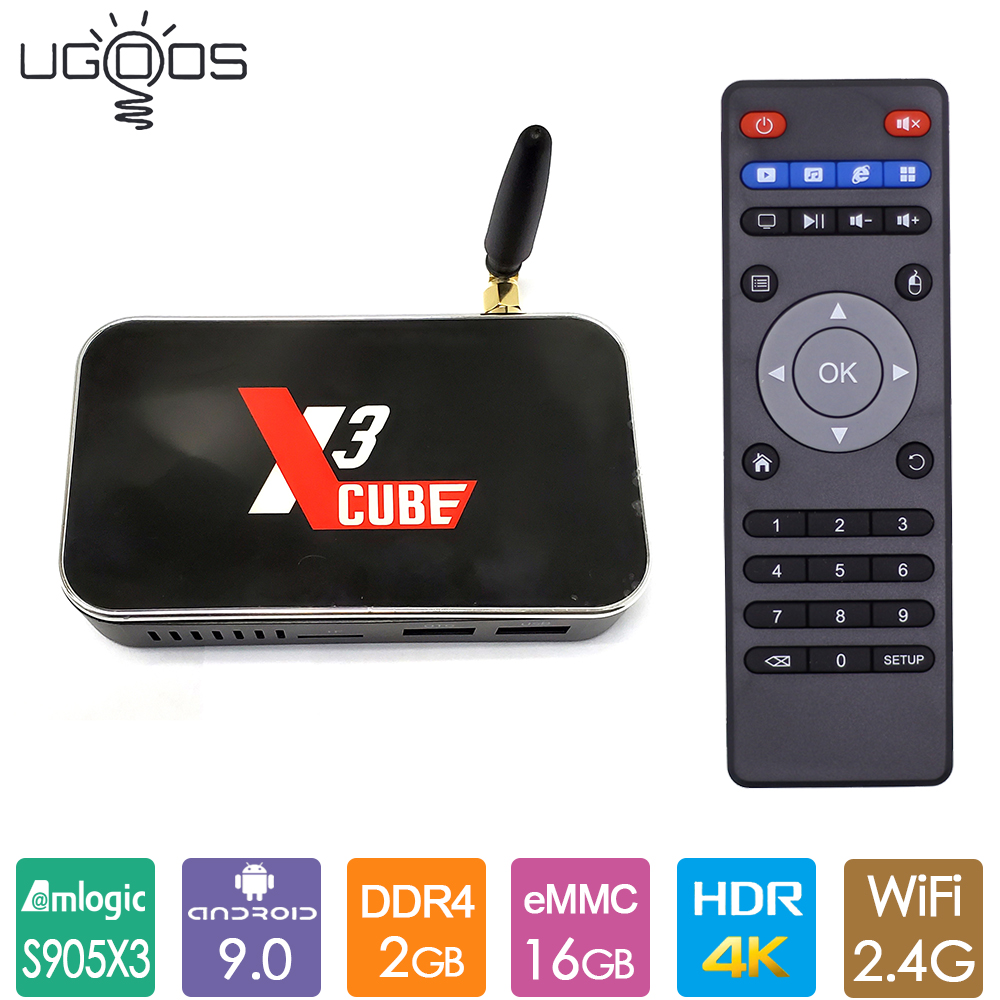 Ugoos X3cube Smart TV Box Amlogic S905X3 Android 9.0 TV Box 2GB LPDDR4 16GB eMMC 2.4G WiFi 4K Media Player X3 Cube Set Top Box