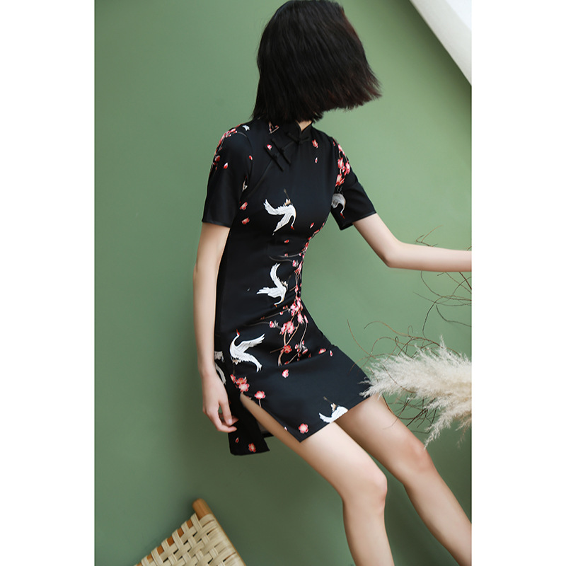 2020 Chinese Dress Traditional Qipao Women Cheongsam Chinese Style Female Flower Print Short Sleeve Chinese Oriental Dress