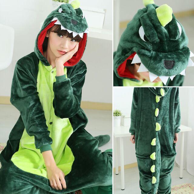 Flannel Kigurumi Dinosaur Onesie Adults Spyro The Dragon Women Dinosaur Pajamas Overall Whole Onepiece Animal Pajamas