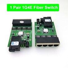 1F4E FTTH 1 para światłowód gigabitowy optyczny media konwerter 4*1000 mb/s jednomodowy pojedynczy światłowód Port SC 20KM płytka obwodów drukowanych z zasilaczem