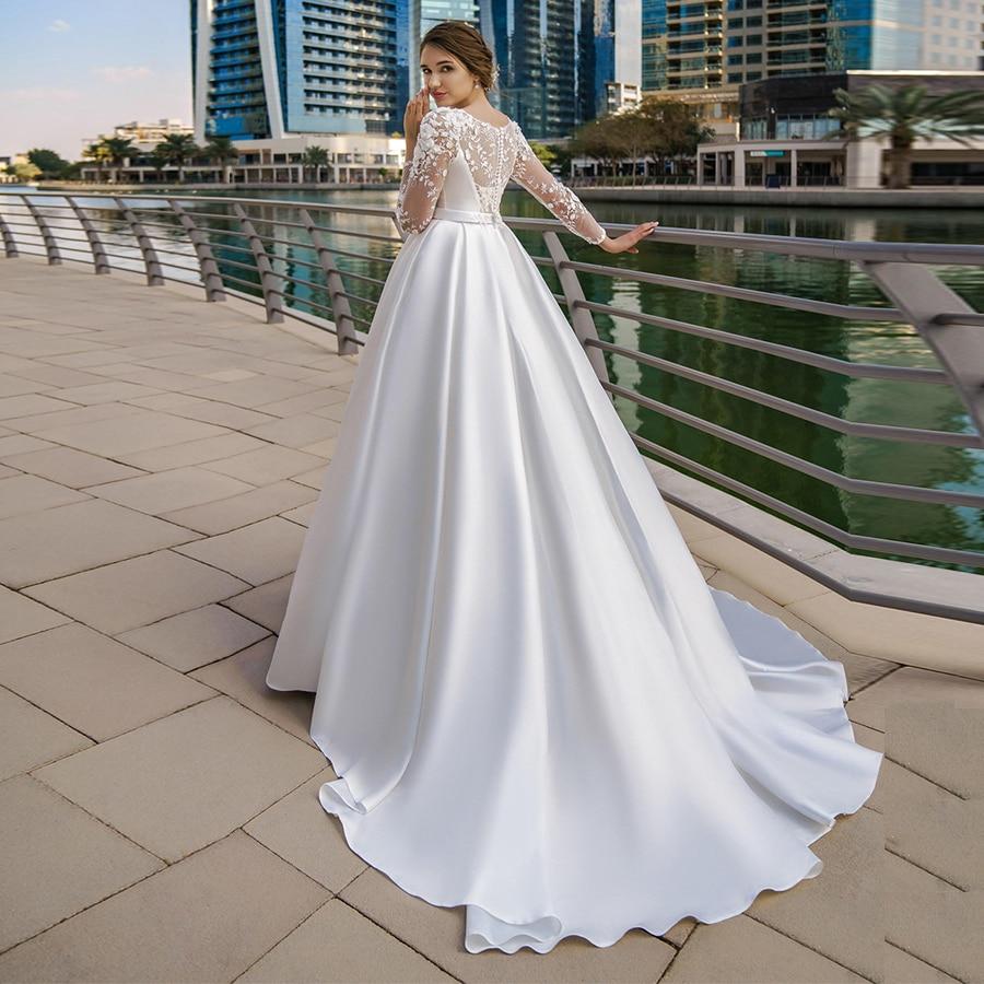 Jiayigong Elegant Satin Muslim Wedding Dress Long Sleeves Scoop Neck Beaded  Applique A line Bride Dresses Vestido De Novia