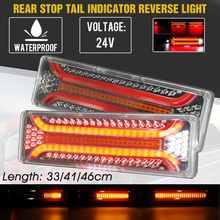 2 pces 24v dinâmico led caminhão do carro luz da cauda sinal de volta luzes de freio traseiras reversa lâmpada de sinal reboque caminhão ônibus campista caravana