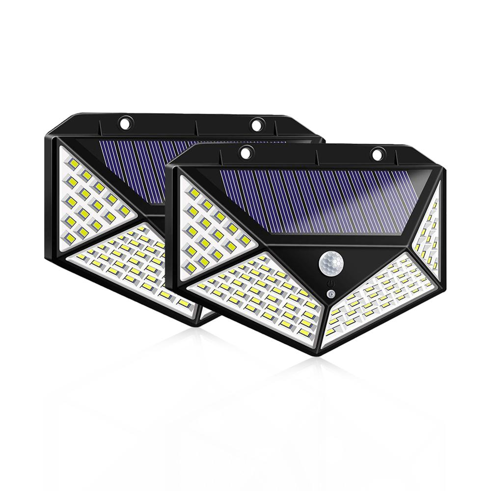 100 LED Solar Light Outdoor Solar Powered Lamp Sunlight 3Modes Motion Sensor Waterproof Wall Street Light Garden Yard Path Decor