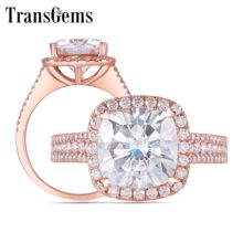 TransGems Solid 14K 585 Rose Gold Center 3ct 8.5mm Cushion F Color Halo Moissanite Wedding Ring with Accents for Women